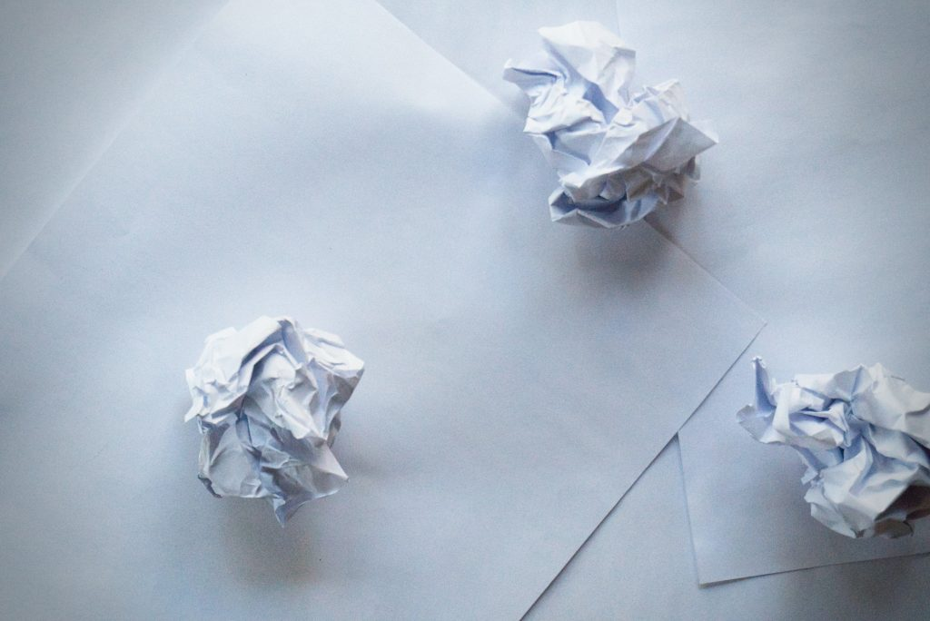 Paper scrunched up - decluttering